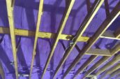 purple spray foam insulation in roof