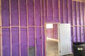 purple spray foam insulation in walls