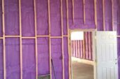purple spray foam insulation in walls