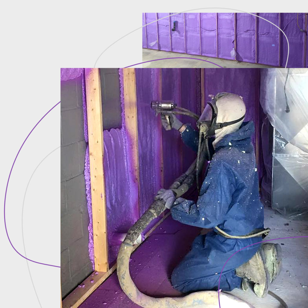 header graphic with man in blue suit with gas mask applying purple spray foam to wall