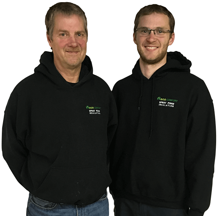 transparent cutout of smiling father and son wearing black ecocomfort hoodies