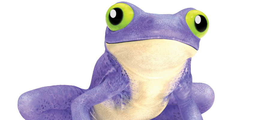 render of purple walltite frog with green eyes