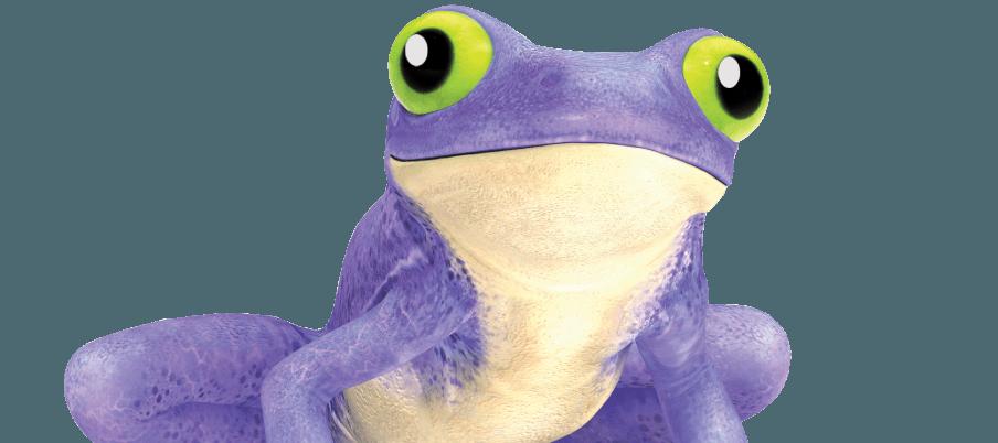 render of purple walltite frog with green eyes